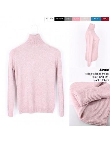 J3908 女士毛衣 收腰 高领 S/M- M/L 一包24条混色