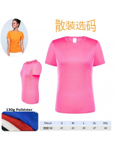 T1018-Camiseta sport lisa mujer 100%...